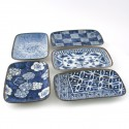 Set of 5 Japanese rectangular plates , AIZOME, blue and white