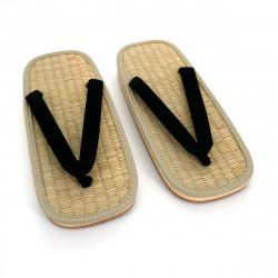 pair of Japanese zori sandals, ZORI BK, black