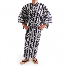 Japanese traditional blue navy cotton yukata kimono autumn moon kanji for men
