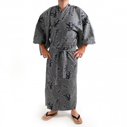 Japanese traditional blue grey cotton yukata kimono four seasons kanji for men