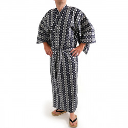Japanese traditional blue cotton yukata kimono chain pattern for men