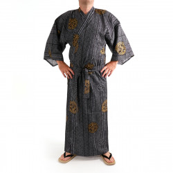 Japanese traditional black cotton yukata kimono ancient coins for men