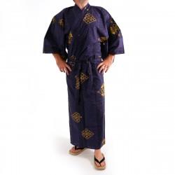 Japanese traditional blue cotton yukata kimono gold diamond for men
