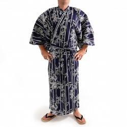 Japanese traditional blue navy cotton yukata kimono bamboo and dragon for men