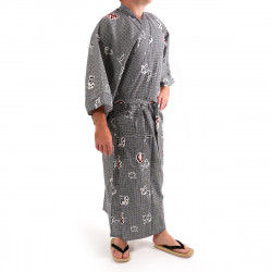Japanese traditional blue gray cotton yukata kimono for men