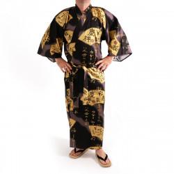 Japanese traditional black kimono in cotton sateen gold folding fans for men