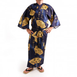 Japanese traditional blue kimono in cotton sateen gold folding fans for men
