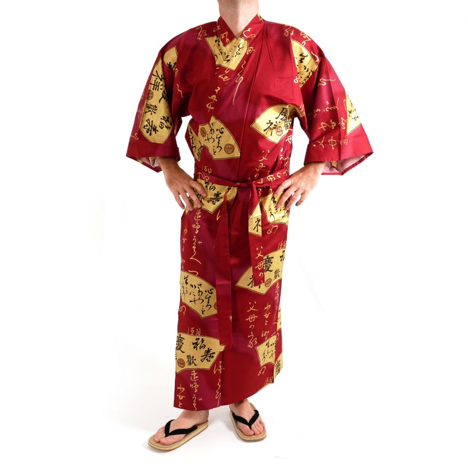 Japanese traditional red kimono in cotton sateen gold folding fans for men