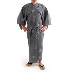 Japanese traditional blue grey cotton yukata kimono joyous and good omen kanji for men