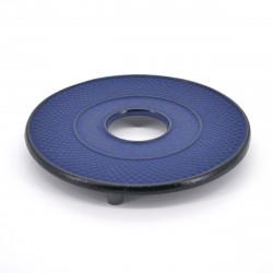 Japanese cast iron trivet, ARARE, blue