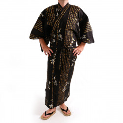 Japanese traditional black cotton yukata kimono general hideyoshi kanji for men