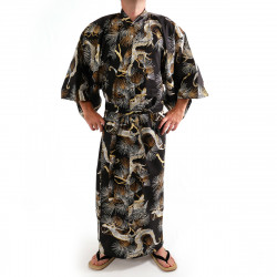 Japanese traditional black cotton yukata kimono dragon and hawk for men