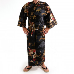 Japanese traditional black cotton yukata kimono dragon and mont fuji for men