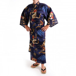 Japanese traditional blue navy cotton yukata kimono dragon and mont fuji for men