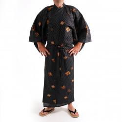 Japanese traditional black cotton yukata kimono diamond pattern for men