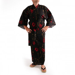 Japanese traditional black cotton yukata kimono dancing kanji characters for men