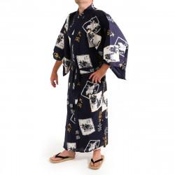 Japanese traditional blue navy cotton yukata kimono sumo wrestler and kanji for men