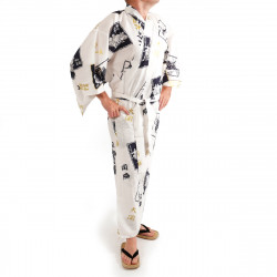 Japanese traditional white cotton yukata kimono sumo wrestler and kanji for men