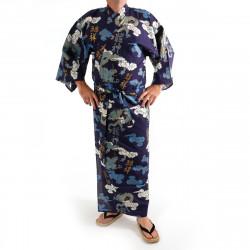 Japanese traditional blue navy cotton yukata kimono dragon cloud and kanji for men