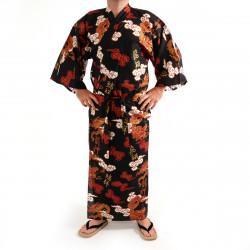 Japanese traditional red cotton yukata kimono dragon cloud and kanji for men