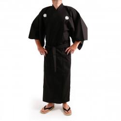 Japanese traditional black kimono in cotton Aoi crest for men