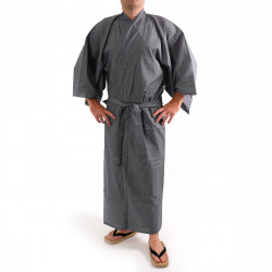 Japanese traditional blue navy gray cotton yukata kimono stripe for men
