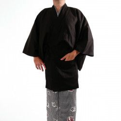 Japanese traditional black unisex cotton shantung haori jacket