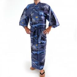 Japanese traditional blue cotton yukata kimono mont fuji for men