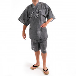 Japanese traditional blue grey cotton kimono jinbei joyous and good omen kanji for men