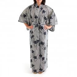 Japanese traditional blue grey cotton yukata kimono iris and stripes for ladies