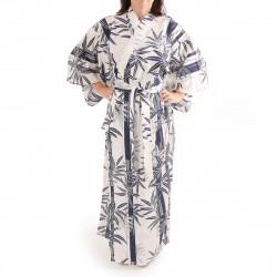 Japanese traditional white cotton yukata kimono bamboo for ladies