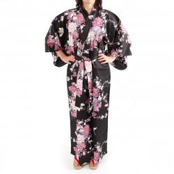 Japanese black kimono for women flying crane and peony