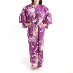 Japanese purple kimono for women flying crane and peony