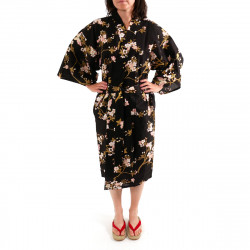 Japanese traditional black cotton happi coat kimono cherry blossoms and butterfly for ladies