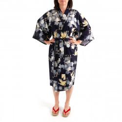 Japanese traditional blue navy cotton happi coat kimono cherry blossoms and crane for ladies