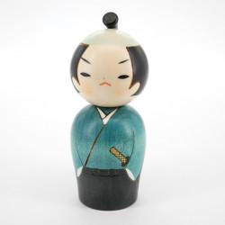 Japanese kokeshi doll samurai blue, SAMURAI