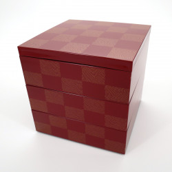 Large japanese lunch box, ICHIMATSU, Red checkerboard