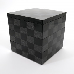 Large japanese lunch box, ICHIMATSU, Black checkerboard