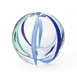 japanese glass vase, NATSUZORA, green and blue