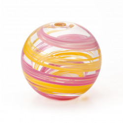 japanese glass vase, SAKURAKAZE, pink and yellow