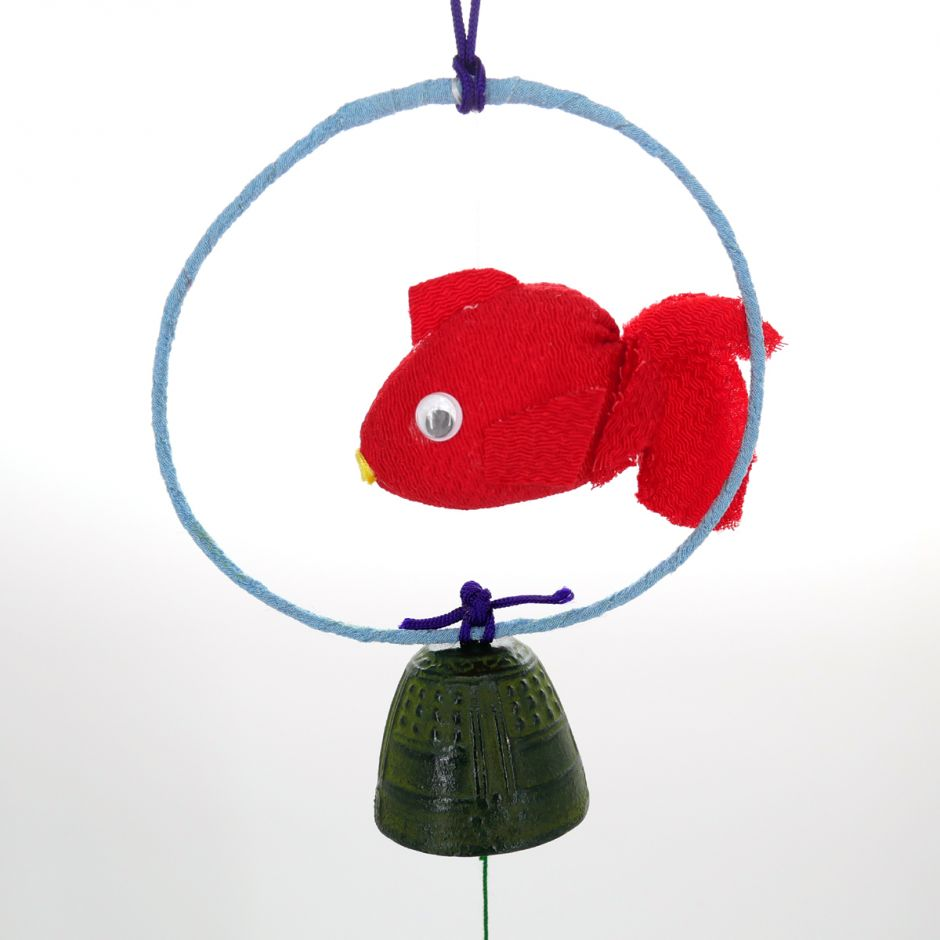 Japan cast iron wind bell, KINGYO, red