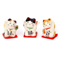 Trio of japanese cats , MANEKINEKO, lucky charm