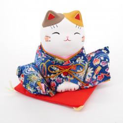 Japanese ceramic manekineko cat OJIGI-L, KIMONO OJIGI-L, blue