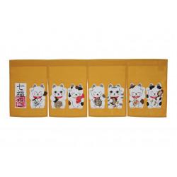 japanese yellow noren curtain manekineko 85 x 30 cm SHICHI FUKUNEKO