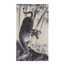 japanese blue hemp noren curtain tiger 85 x 150 cm TORA
