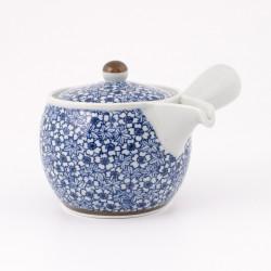 Blue japanese Kyusu teapot sakura momiji