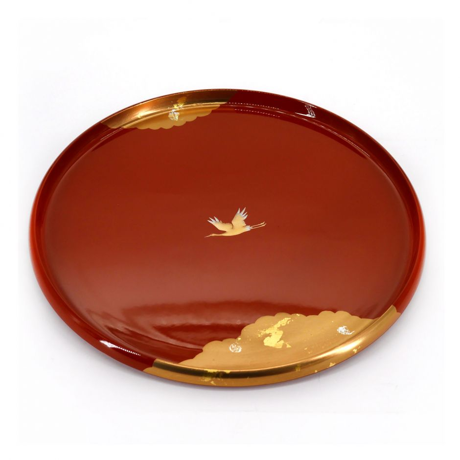 red lacquered effect tray, KAGAYAKI, crane