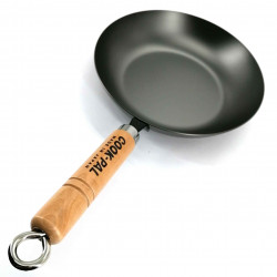 Steel frying pan with wooden handle, YOSHIKAWA FRYING PAN