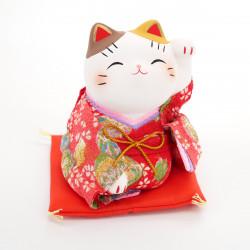 japanese ceramic manekineko lucky cat, KIMONO, red