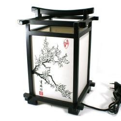 lampe japonaise kanji bois et papier fleur de cerisier